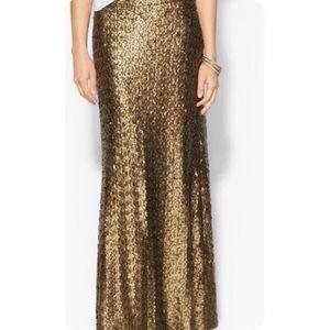 Sabine Gold Bronze Sequin Maxi Skirt Sz S NWT